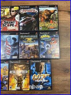 Sony Playstation 2 Console Slim Bundle With Controllers 2 Memory Cards 11 Games