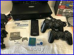 Sony Playstation 2 Ps2 Console Mobile Monitor Memory Cards Controllers Games Lot
